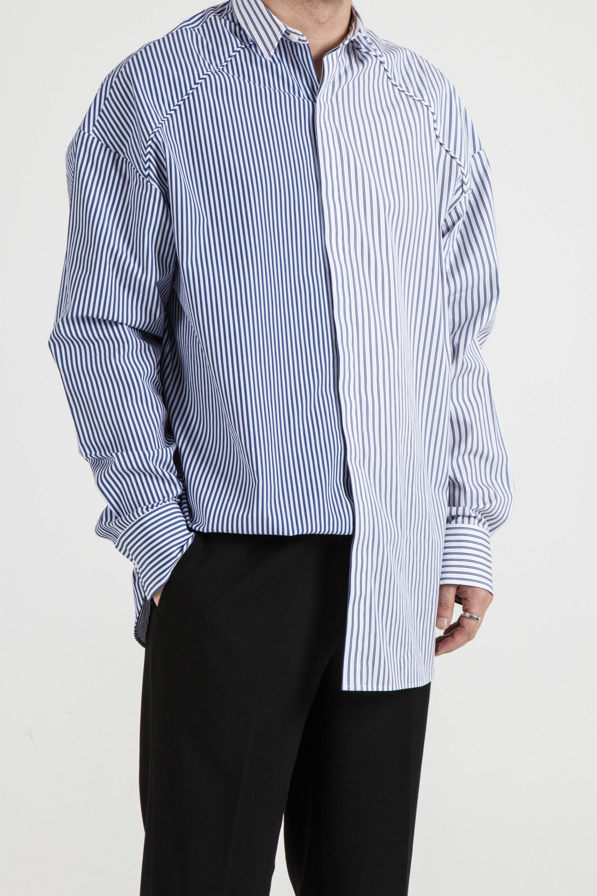HALF & HALF Stripe BACK LETTERING OVER-FIT SHIRTS